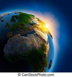 地球, 上に, 外の, 日の出, スペース