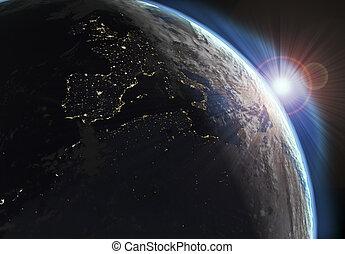 地球, 光景, 効果, 日, 夜