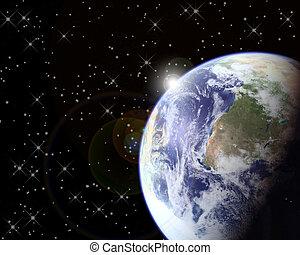 &, 地球, 太陽