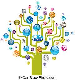 地球, 木, カラフルである, アイコン