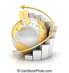 地球, 棒グラフ, ビジネス, 3d