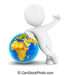 地球, 白, 3d, 人々