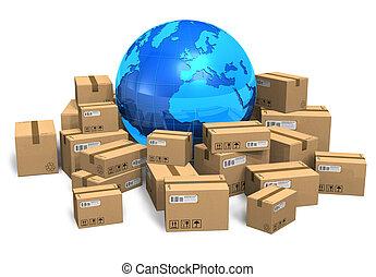 地球, 箱, ボール紙, 地球