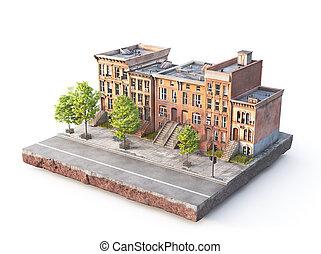 地面, バックグラウンド。, 3d, 都市, 小片, 白, イラスト, ブロック