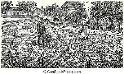 型, かたつむり, escargot, 農場, 彫版