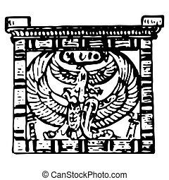 型, エジプト人, シンボル, 彫版, 古代