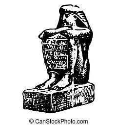 型, エジプト人, 女, 彫版, 古代, モデル