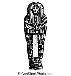 型, エジプト人, 石棺, 彫版, 古代