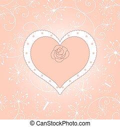 型, カード, 挨拶, 花