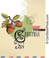 型, クリスマスカード, 挨拶