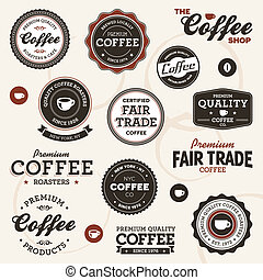 型, コーヒー, ラベル