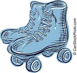 型, スケート, エッチング, ローラー