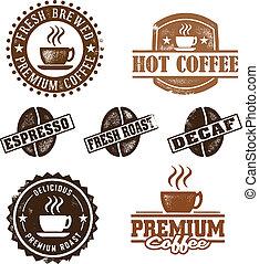 型, スタイル, コーヒー, スタンプ