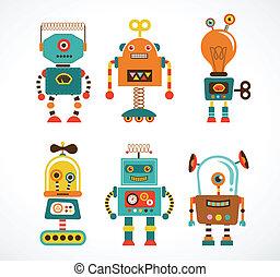 型, セット, ロボット, アイコン