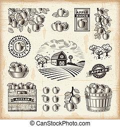 型, セット, 収穫, アップル