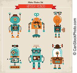 型, セット, 情報通, ロボット, アイコン