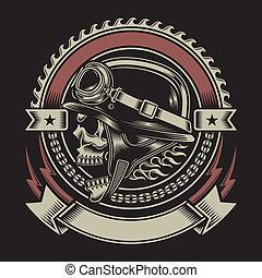 型, バイカー, 紋章, 頭骨