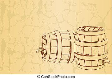 型, ビール樽, 背景
