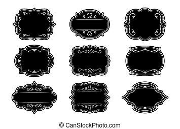 型, ベクトル, セット, フレーム, 装飾用, ラベル, 黒