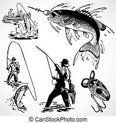 型, ベクトル, 釣り, グラフィックス