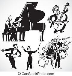 型, ベクトル, 音楽家, 道具