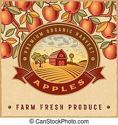 型, 収穫, アップル, カラフルである, ラベル
