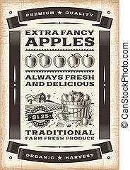 型, 収穫, アップル, ポスター