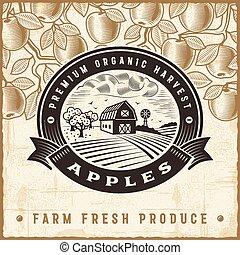 型, 収穫, アップル, ラベル