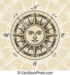 型, 太陽, バラ, コンパス
