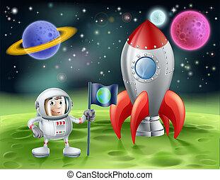 型, 宇宙飛行士, 漫画, ロケット