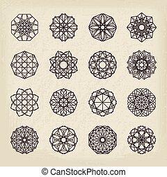 型, 幾何学的, セット, 装飾