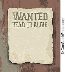 型, 死んだ, alive., ポスター, 望まれる, ∥あるいは∥