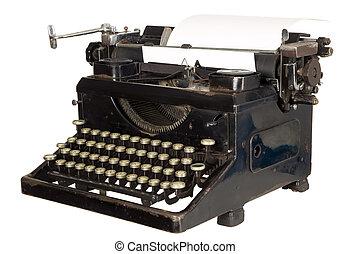 型, 白い背景, タイプライター