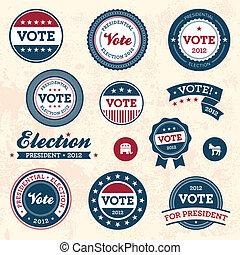 型, 選挙, バッジ