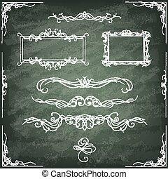型, card., frames., セット, hand-drawn, 装飾用
