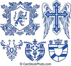 型, heraldic, 皇族, 要素