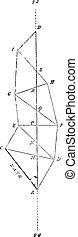 型, triangulation, geodesic, engraving.