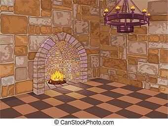 城, ホール, 暖炉