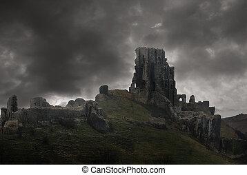 城, 台なし, 嵐, の上