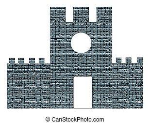 城, 白い背景, 隔離された