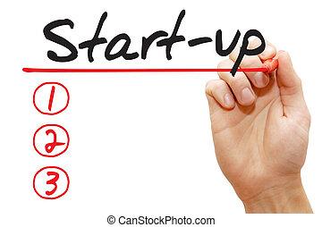 執筆, ビジネス, リスト, 手, スタートアップ, 概念