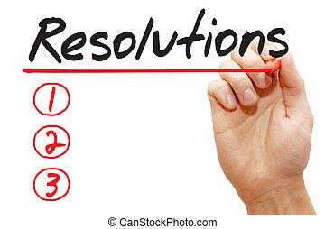 執筆, ビジネス, リスト, resolutions, 手, 概念