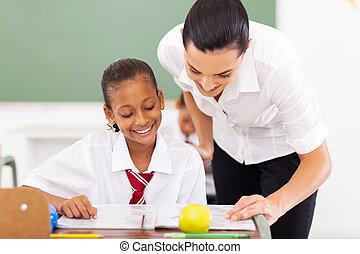 基本, 助力, 学校教師, 学生