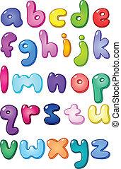 場合, アルファベット, より低い, 泡, 3d