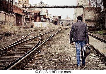 場合, 産業, 離れて, 若い, ギター, 行く, 台なし, 人