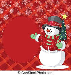 場所, クリスマス, 雪だるま, 木