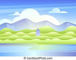 塔, 山, 東, 湖, 風景