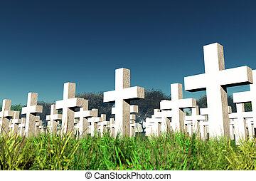 墓地, 軍, 空, 下に
