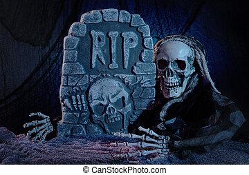 墓碑, モンスター, 頭骨