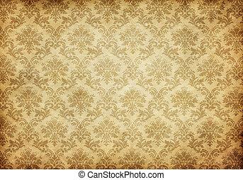 壁紙, 古い, ダマスク織